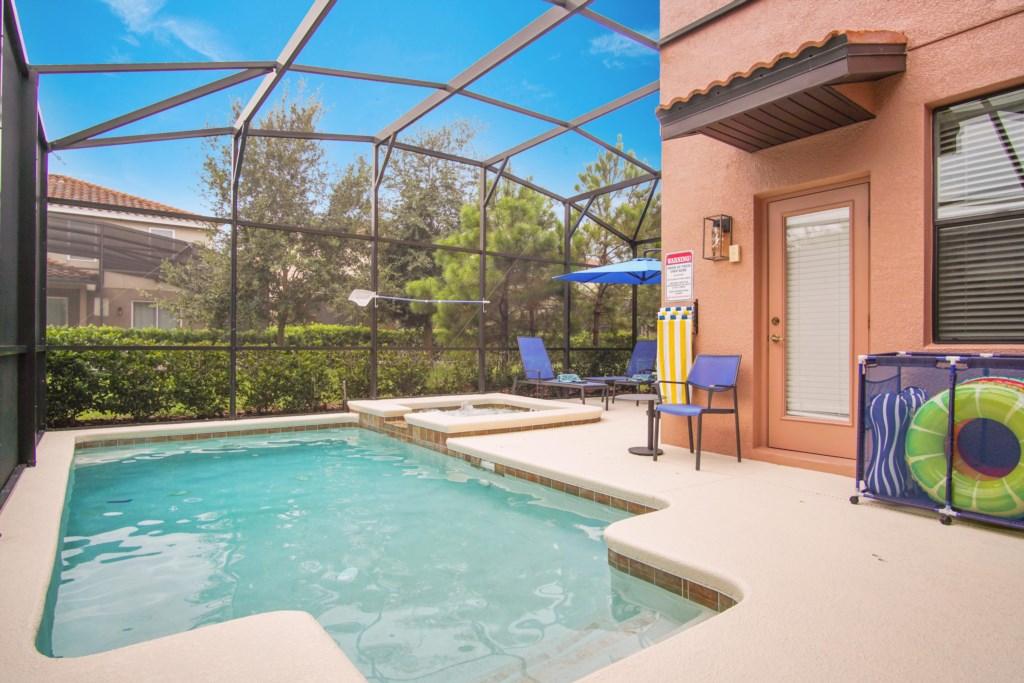 South facing pool and spa/hot tub.