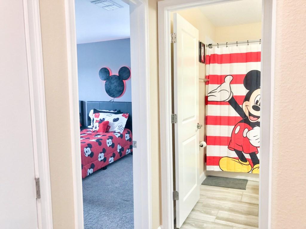 Mickey Themed Bedroom & Bathroom views