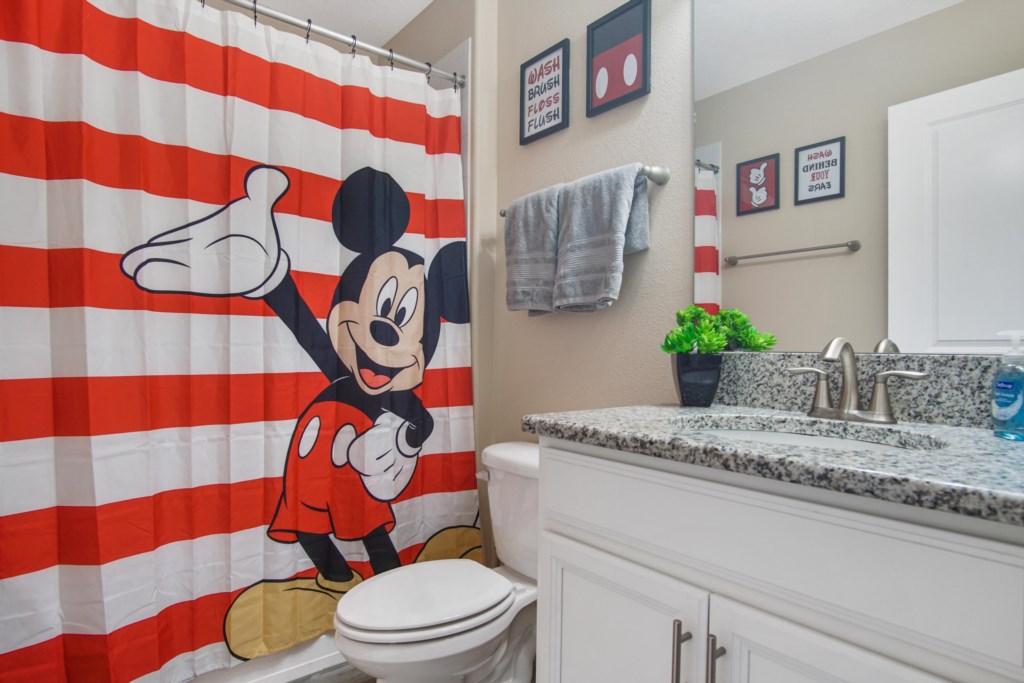 Upstairs | Bathroom 4 - Hallway Bathroom: 1 sink, shower/tub combo (Mickey themed).