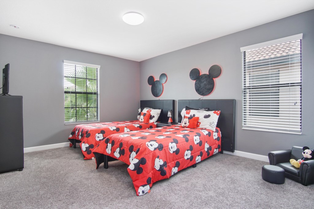 "Upstairs | Bedroom 4 - Twin Beds, 42"" TV (Mickey themed, headboard lights up!)"