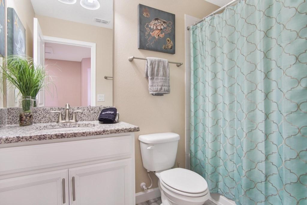 Upstairs | Bathroom 5 - Hallway Bathroom: 1 sink, shower/tub combo (Seashell/beach themed).