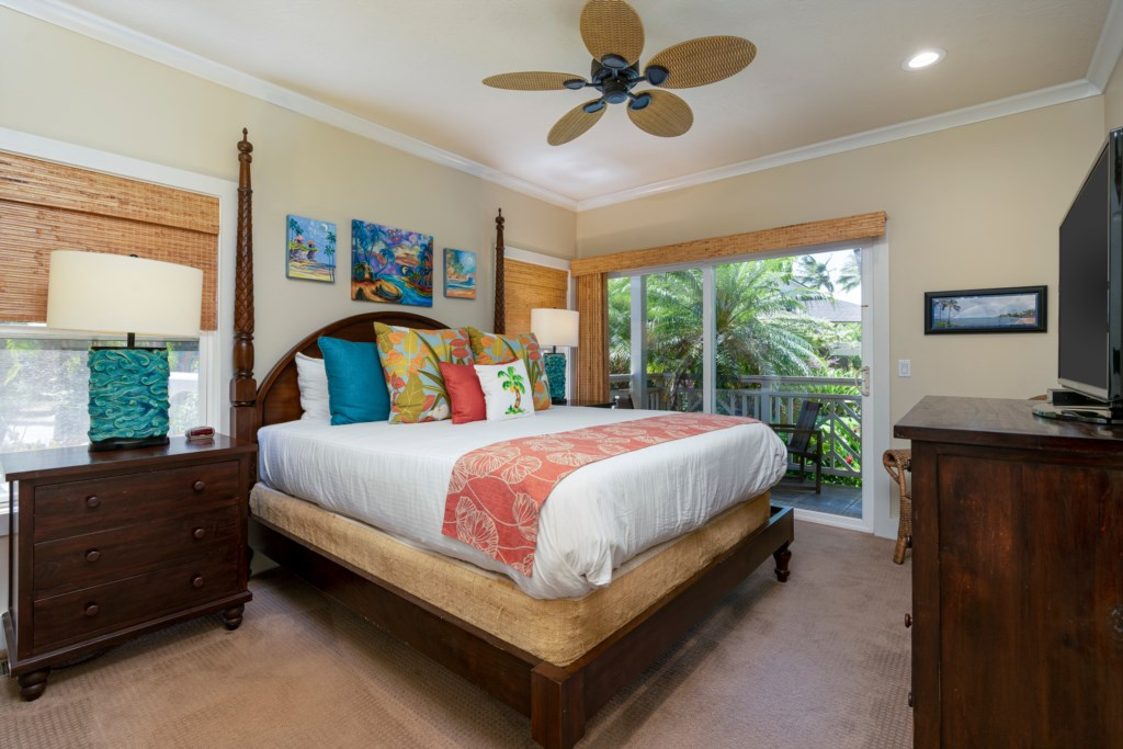 Master Bedroom with comfy bed & ceiling fan
