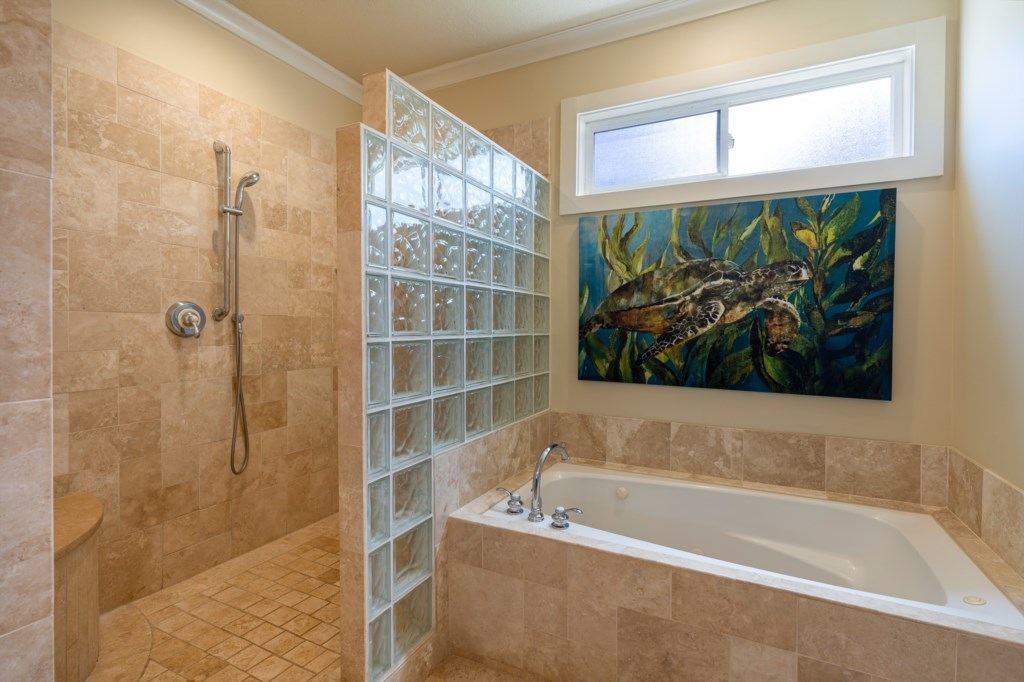 Master Bathroom with walk-in shower and bathtub perfect for relaxation