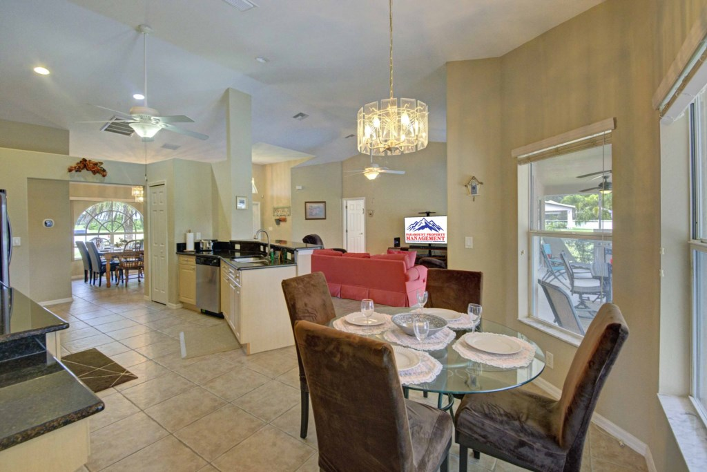 The Kitchen is connected to a casual Dining space
