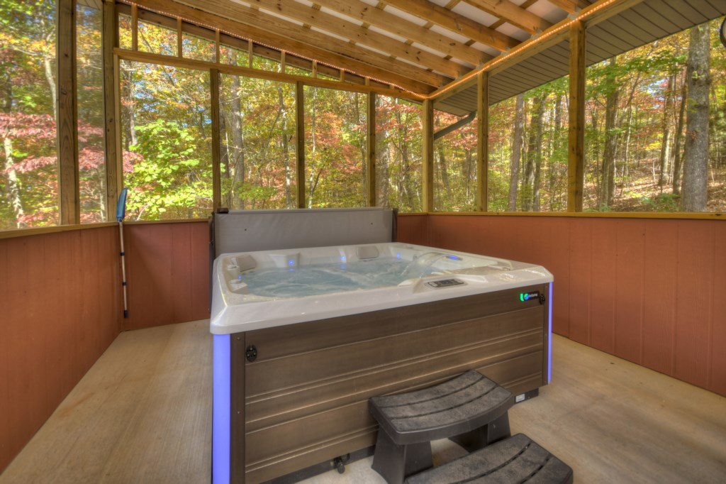 Relax and unwind in this enclosed Hot Tub