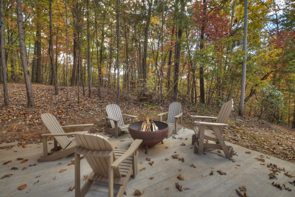 Outside firepit with seating to enjoy cozy evenings roasting marshmellows or s'mores