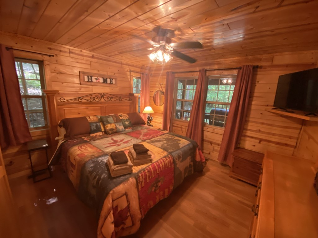 Spacious bedroom with views from every window