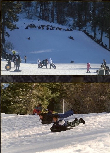 Inner tubing and snow play