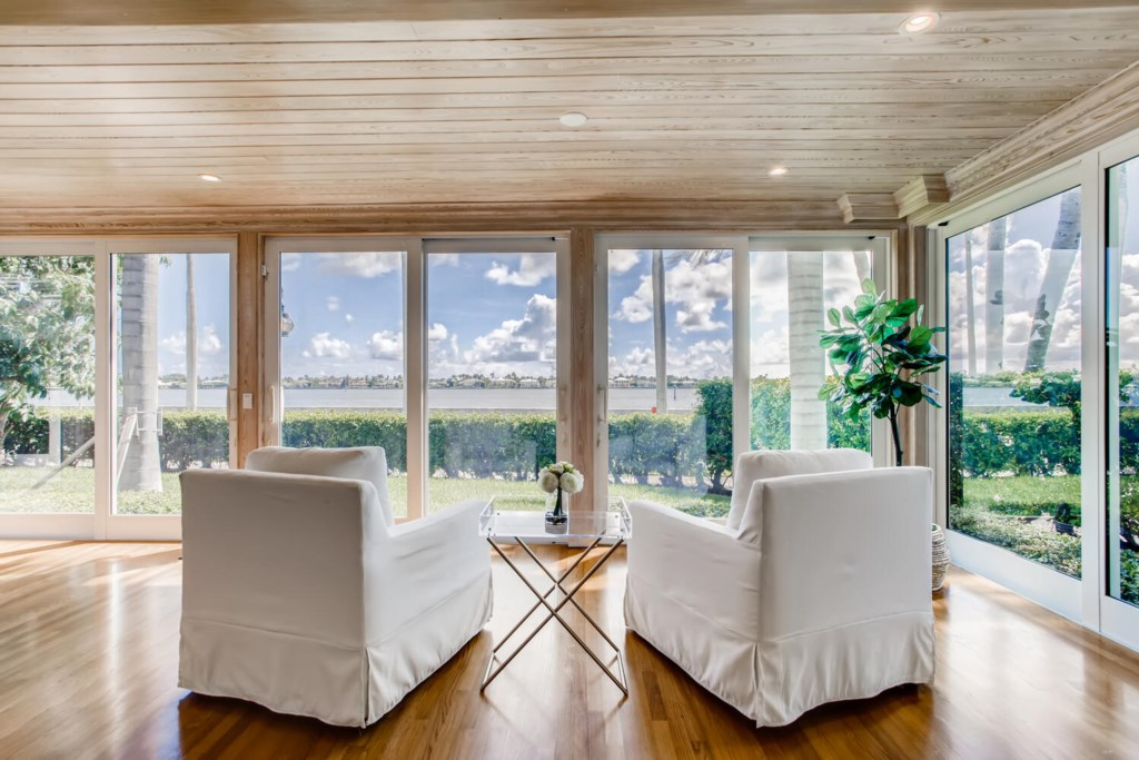Living Room looking out on the Intracoastal Waters