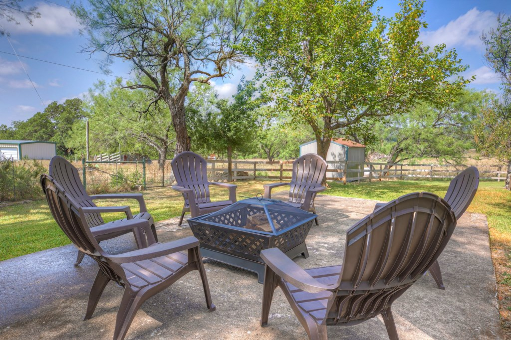 The outdoor area is perfect for a morning coffee or a relaxing afternoon with your group!