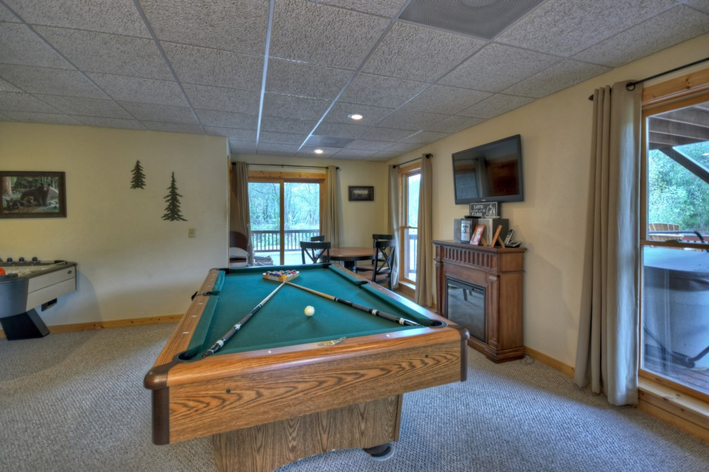 Game Room with Pool Table and access to the Deck