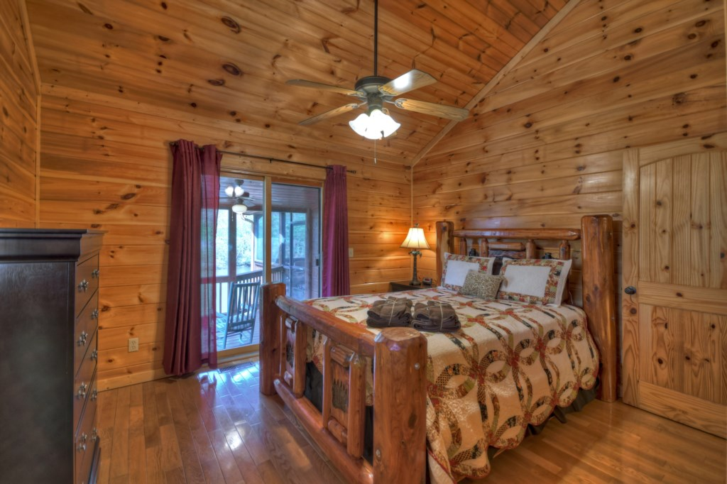 King size Master Bedroom with access to the deck