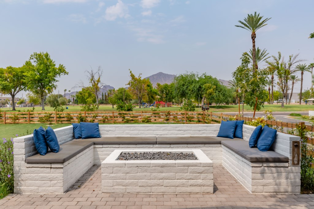 Front patio fire pit with amazing Camelback Views