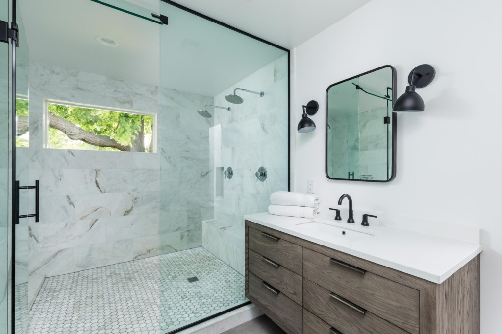 Master Bathroom with large wet room
