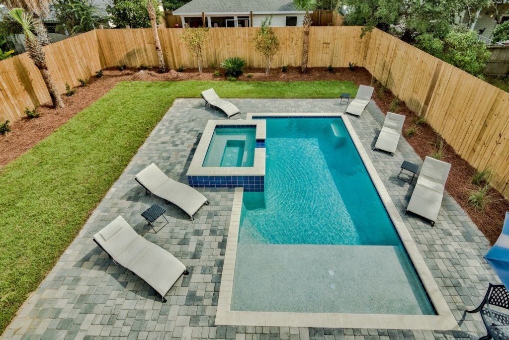 Salt Water Pool, With overflow spa and tanning edge!