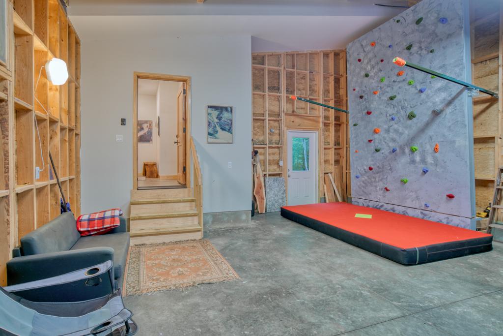 Garage with Climbing Wall