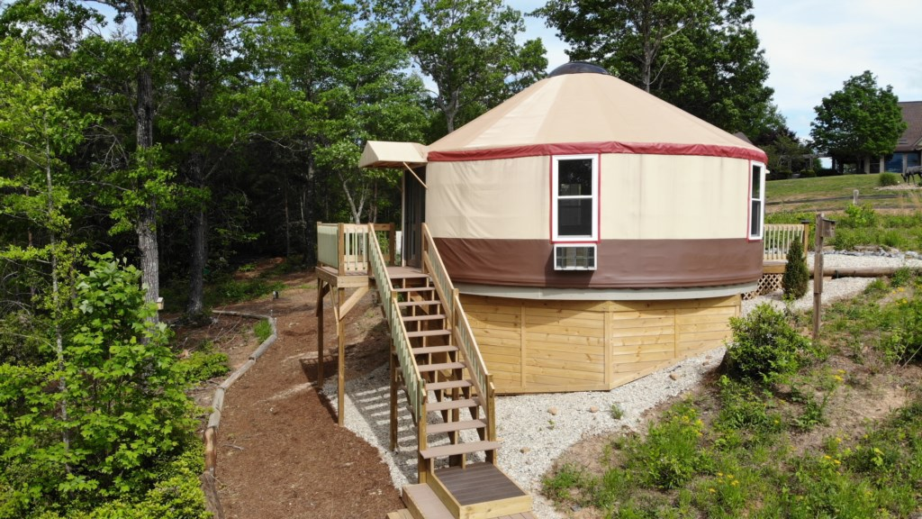 Yurt with room for a group to meet, or use the treadmill or elliptical during your stay.
