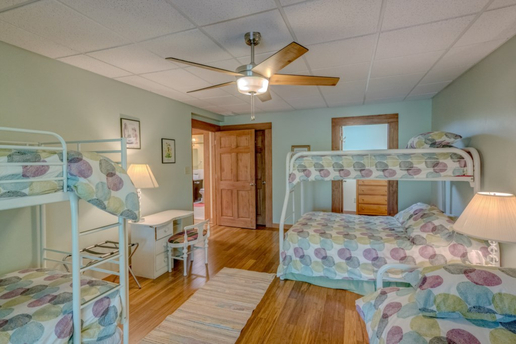 Plenty of beds in downstairs bunkroom