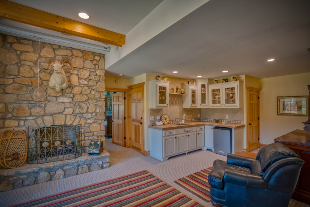 Cozy downstairs living area with fireplace and small kitchen