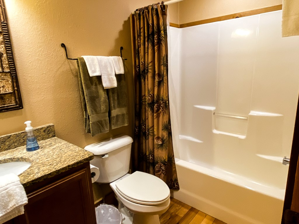 Bathroom with insert tub and shower