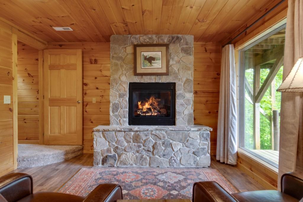 Fireplace in lower bedroom