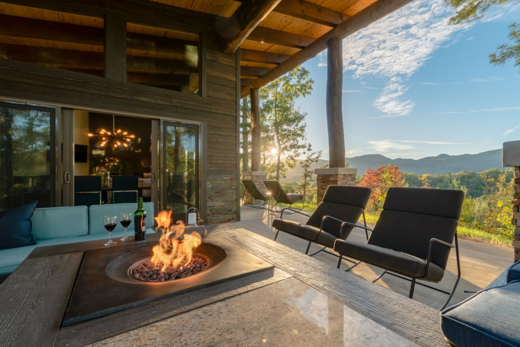 Pointe D outdoor fireplace