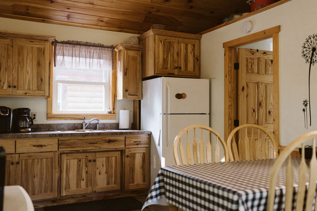 Cozy cabin kitchen, with all your non-food essentials for cooking.