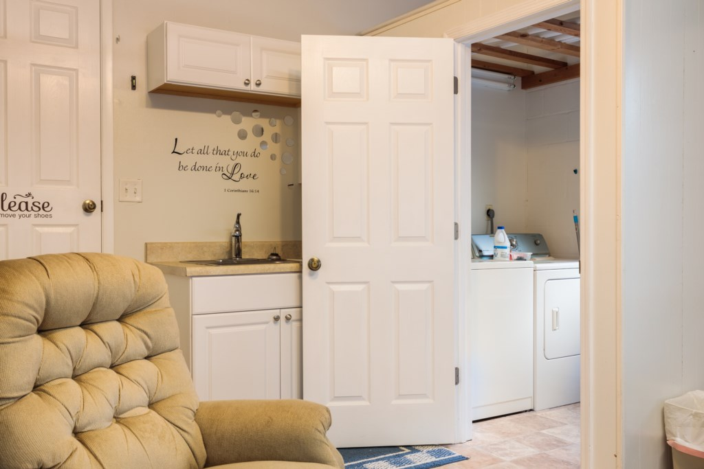 Washer and dryer that you're welcome to use. Laundry detergent and dryer sheets for your convenience!