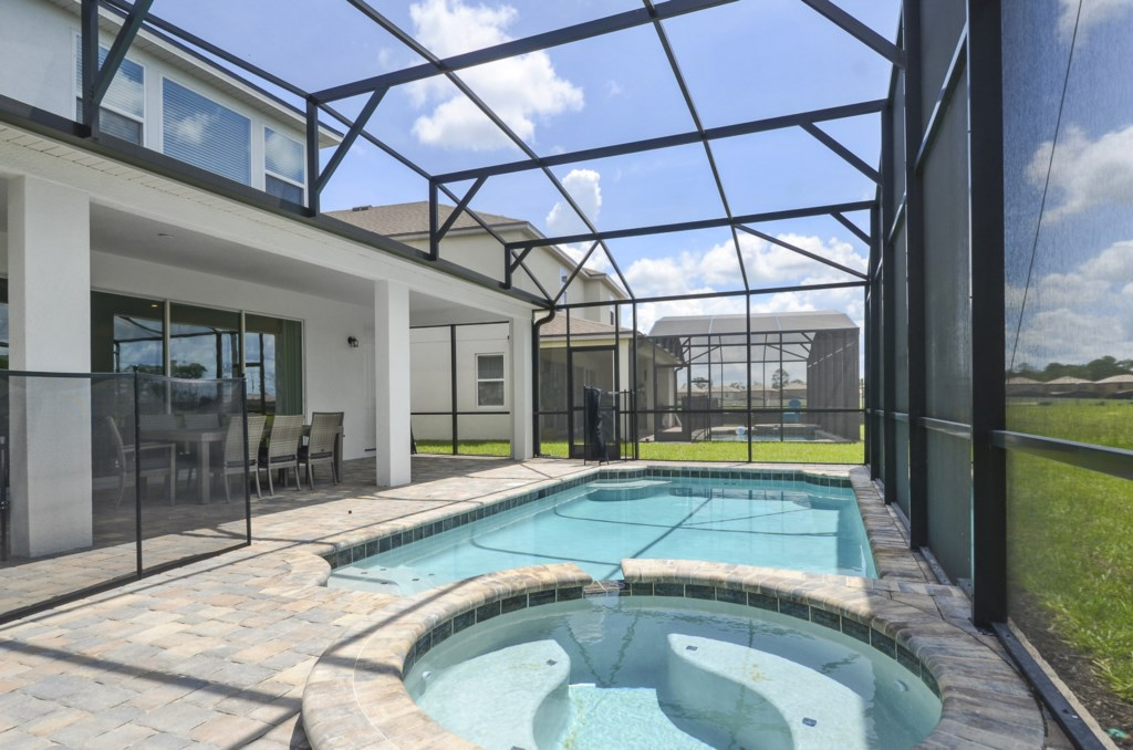 Screened in private pool.  Heated upon request.