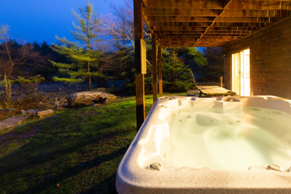 Sit in the Large Hot tub and enjoy the view of the Boulder Field