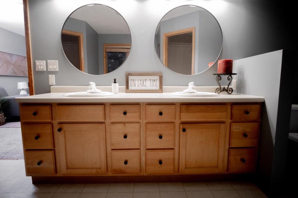 Large double vanity in master ensuite.
