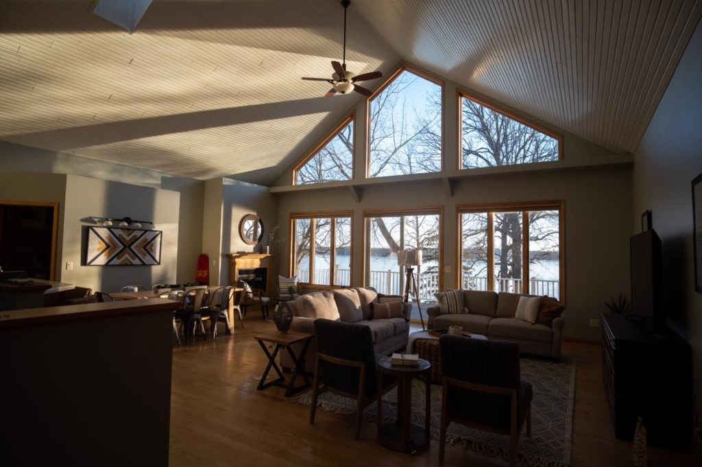 The main level has an open concept with a large kitchen, dining, and living room.