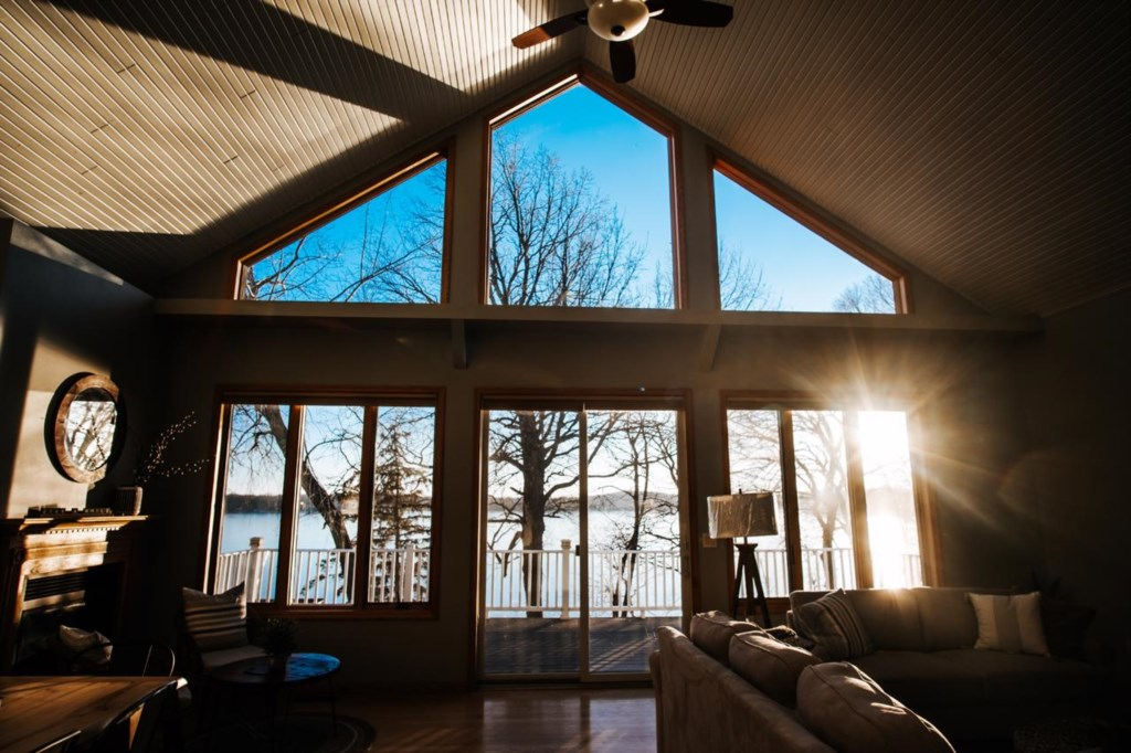 The views from this Leek Lake home are spectacular.