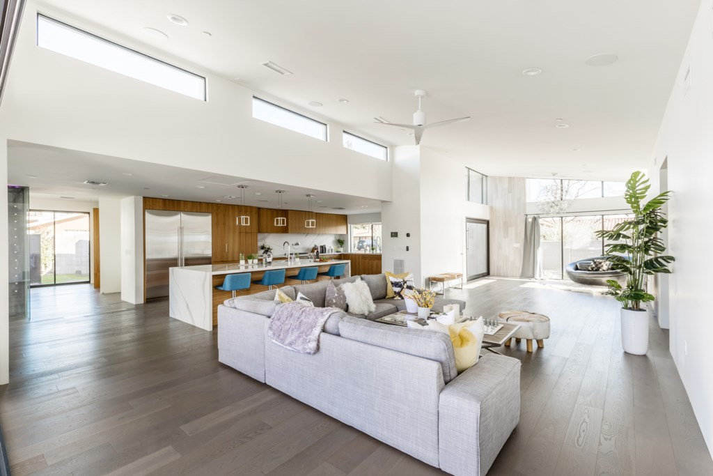 Huge open concept living room and kitchen area