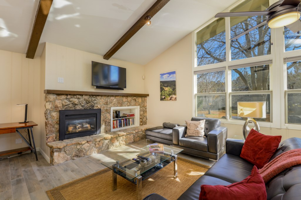 Living room with gas fireplace
