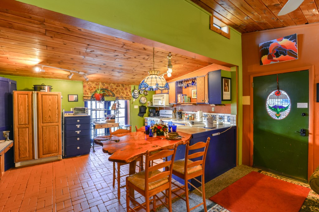 Beautiful Color, Tiles, and Wood Furnishings