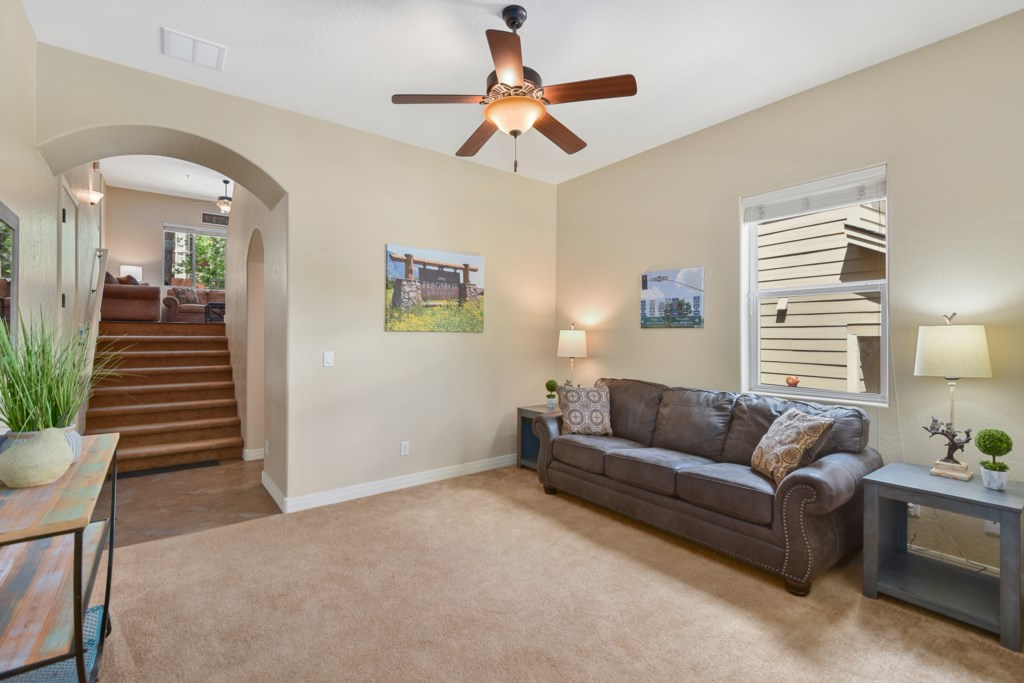 Entry area Den/ lower family room, with pull out queen sofa bed