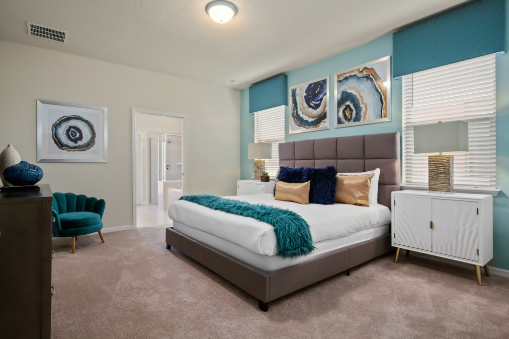 Stunning king bed with flat screen TV
