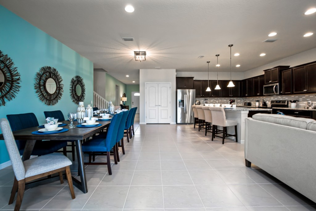Spacious downstairs area with kitchen, dining, and living room