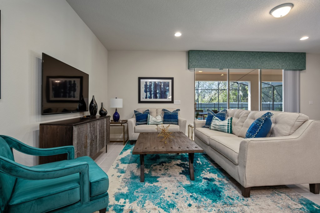 Comfortable living room area with flat screen TV