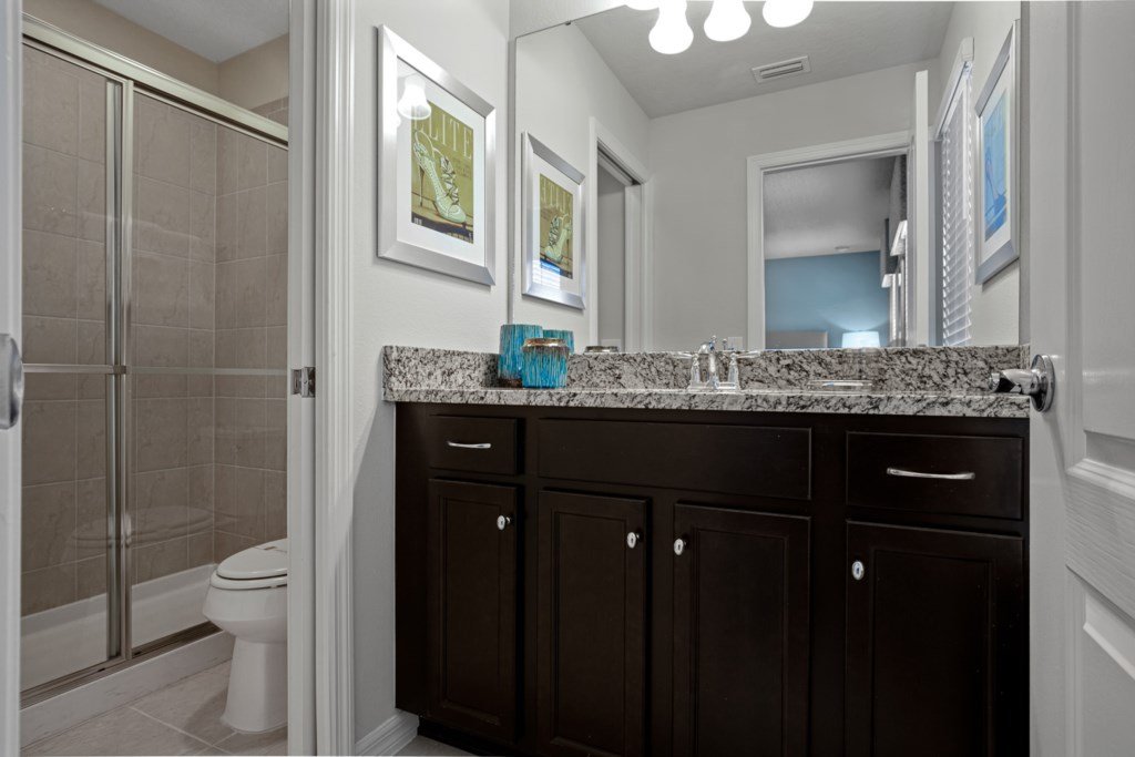 Classic single sink vanity with shower and toilet
