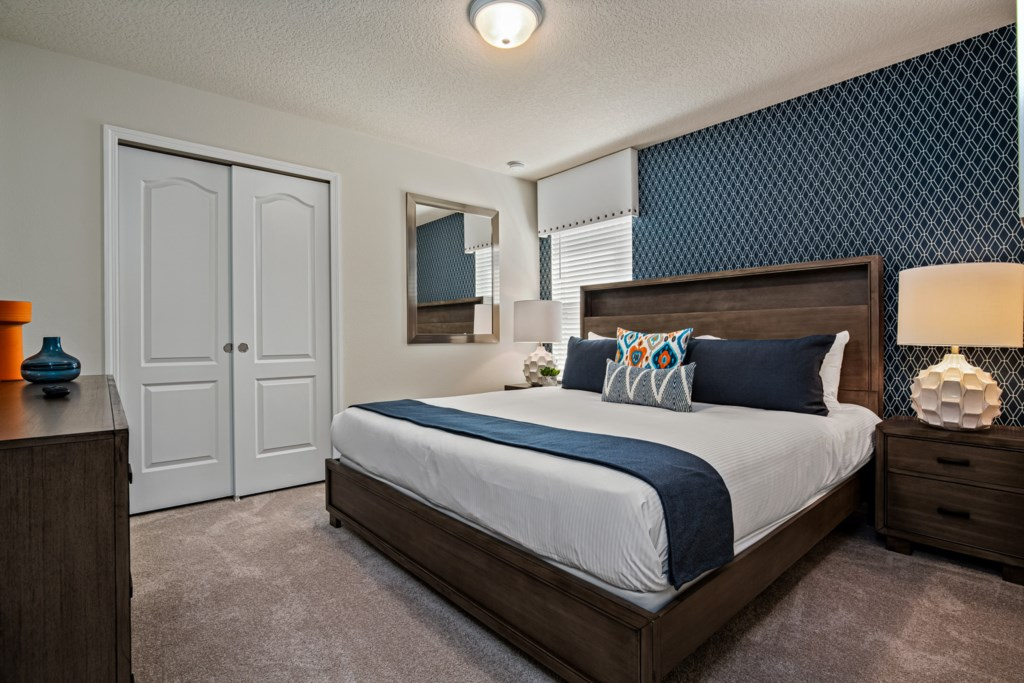 Lovely king bed with flat screen TV