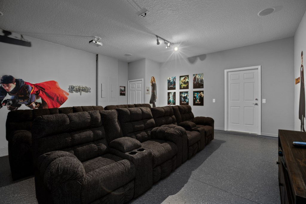 View 2 of magical Harry Potter themed movie room