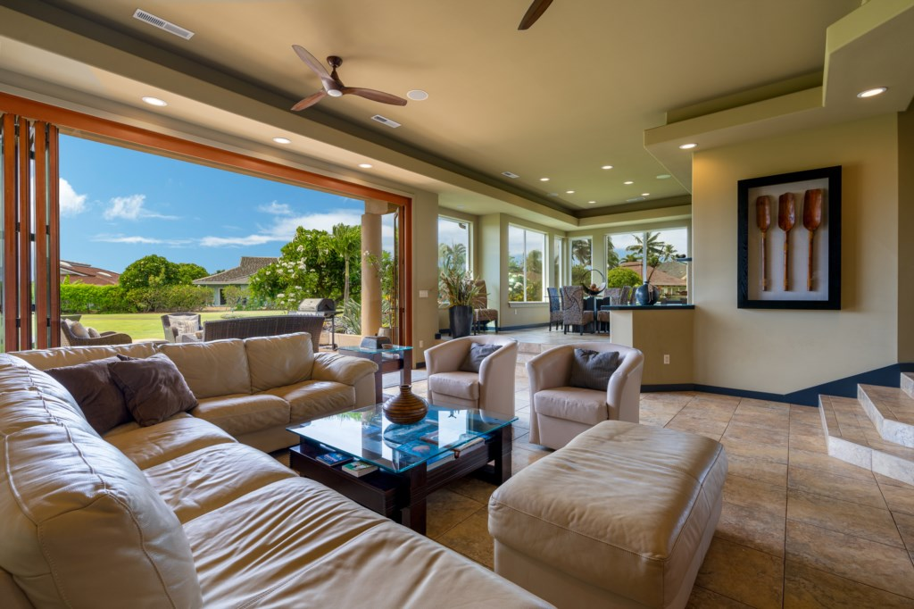 Open Space Living Room Connected to Lanai Patio - Great for Entertaining
