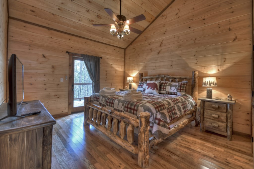 King Master Suite with private deck access