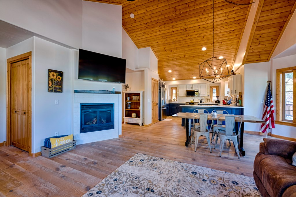 Fireplace and Large HDTV