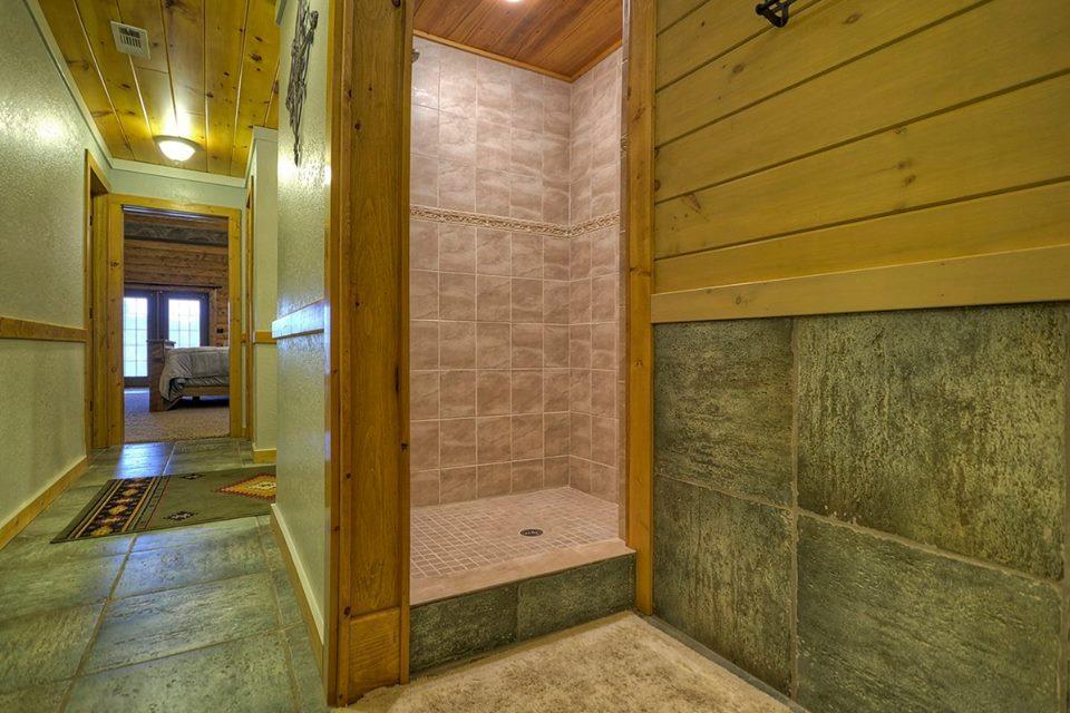 Large fully tilled walk-in shower