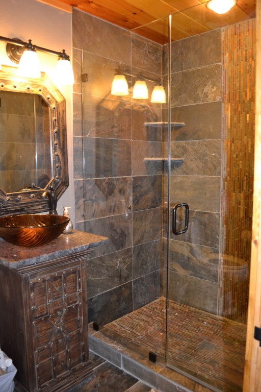 Enjoy the luxurious finishes in this walk-in shower