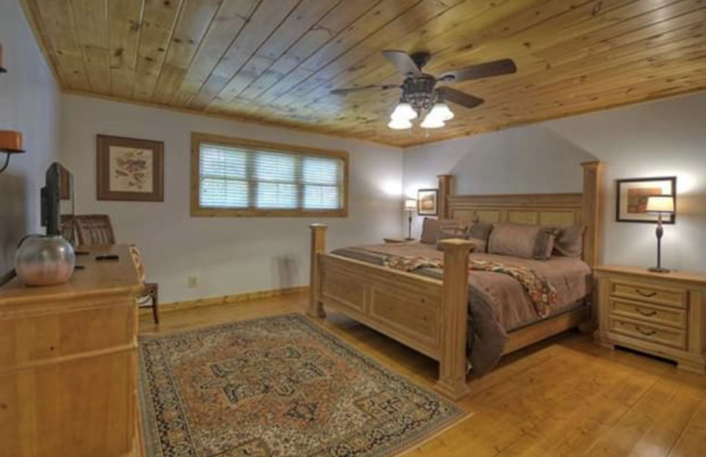 Light and Airy bedroom with ceiling fan