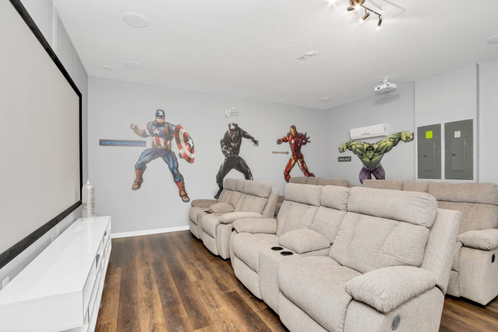 Awesome Marvel themed movie theater with projector
